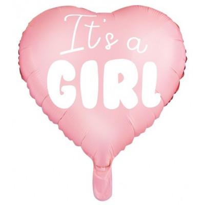 Fóliový balónek srdce 45 cm - It´s a girl růžový