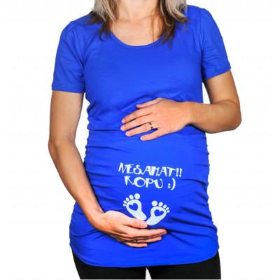 Těhotenské tričko - Nesahat kopu - modré - XL