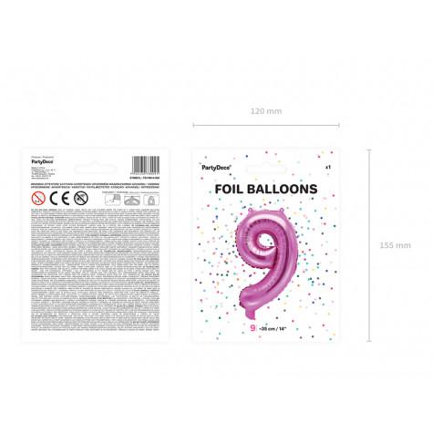Fóliový balónek 35 cm růžový - číslo 9