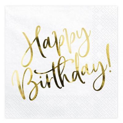 Narozeninové ubrousky - zlaté - Happy Birthday