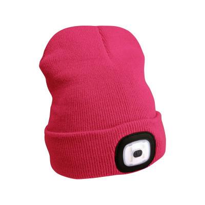 Extol Light Růžová čepice s čelovkou 4x45lm LED nabíjecí USB