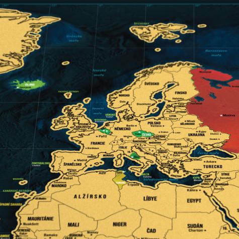 Stírací mapa světa - česká verze Deluxe XL - tmavěmodrá