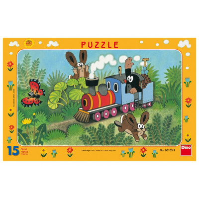 Dino Krtek a lokomotiva deskové puzzle 15 dílků