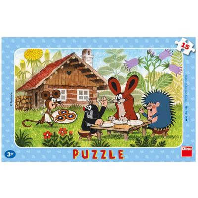 Dino Krtek na návštěvě deskové puzzle 15 dílků
