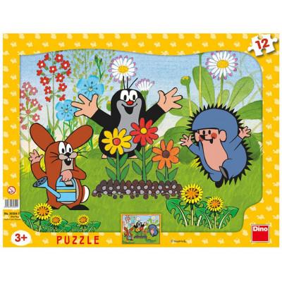 Dino Krtek zahradník deskové tvary puzzle 12 dílků