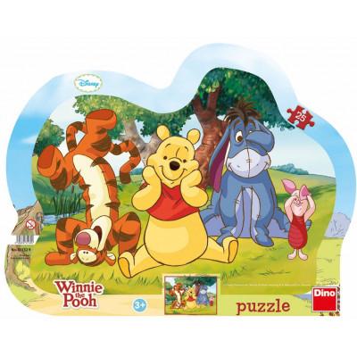 Dino Schovávaná s Medvídkem Pú kontura puzzle 25 dílků