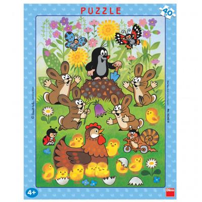 Dino Krtek a Velikonoce deskové puzzle 40 dílků