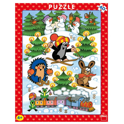 Dino Krtek na sněhu deskové puzzle 40 dílků