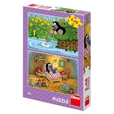 Dino Krtek a perla puzzle 2x48 dílků