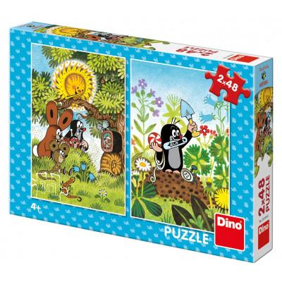 Dino Krtek puzzle 2x48 dílků