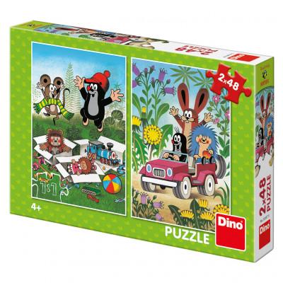 Dino Krtek se raduje puzzle 2x48 dílků