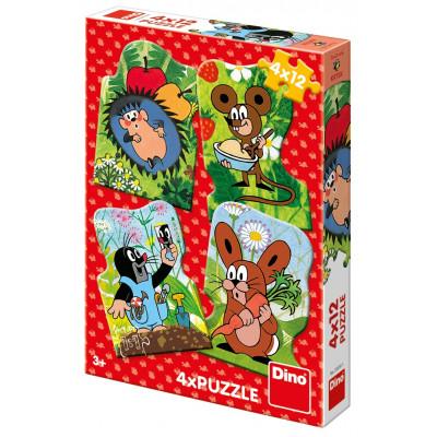 Dino Krteček puzzle 4x12 dílků