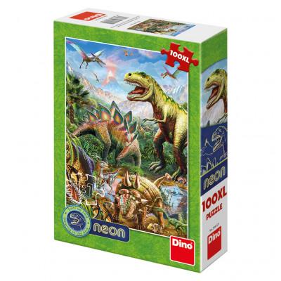 Dino Svět Dinosaurů neon puzzle 100XL dílků