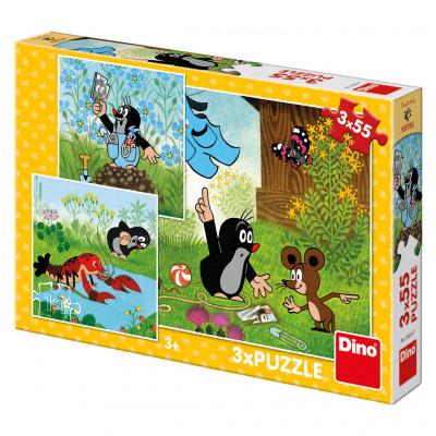 Dino Krteček a kalhotky puzzle 3x55 dílků