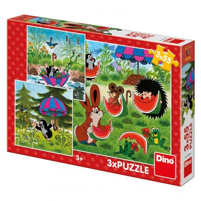 Dino Krteček a paraplíčko puzzle 3x55 dílků