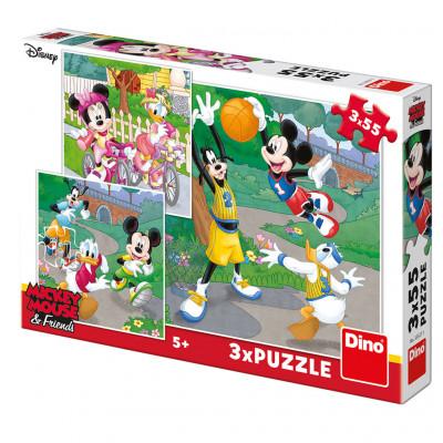 Dino Mickey a Minnie sportovci puzzle 3x55 dílků