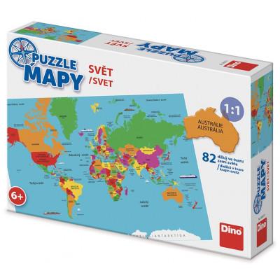 Dino Mapa Světa dětské puzzle 82 dílků