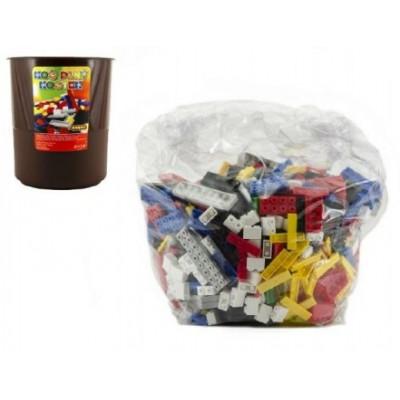 Stavebnice Cheva Koš Plný Kostek plast 2 kg v plastovém boxu v síťce