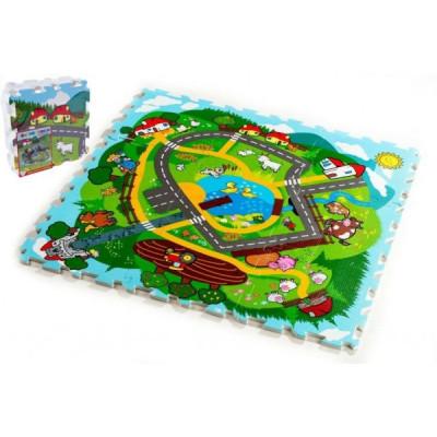 Teddies Pěnové puzzle Město Moje první zvířátka 30x30x1,2cm 9ks