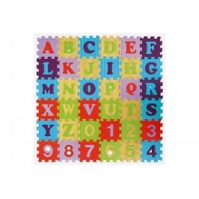 Teddies Pěnové puzzle abeceda a čísla mix barev 36ks 15x15x1cm