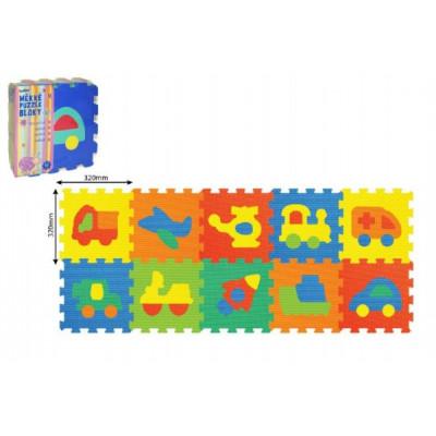 Wiky Pěnové puzzle Dopravní prostředky 30x30cm 10ks