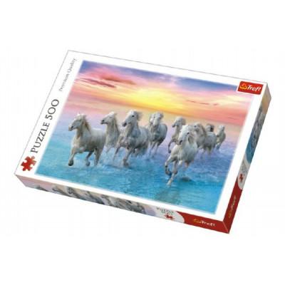 Trefl Puzzle Cválající bílé koně 500 dílků