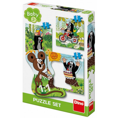 Dino Krtek na louce  baby puzzle 3, 4, 5 dílků