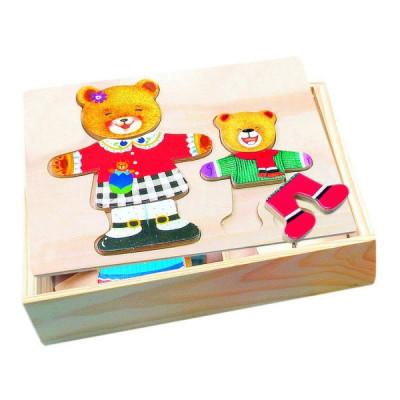Bino Puzzle dřevěné Šatník oblékání medvídků