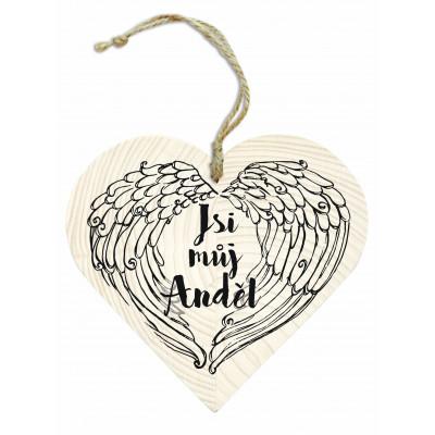 Dřevěné srdce 13 cm - Jsi můj anděl