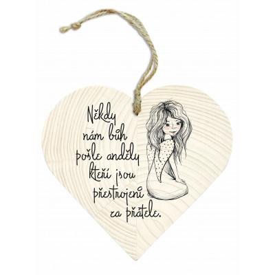 Dřevěné srdce 13 cm - Andělé a přátelé