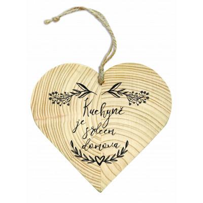 Dřevěné srdce 13 cm - Kuchyně je srdcem domova