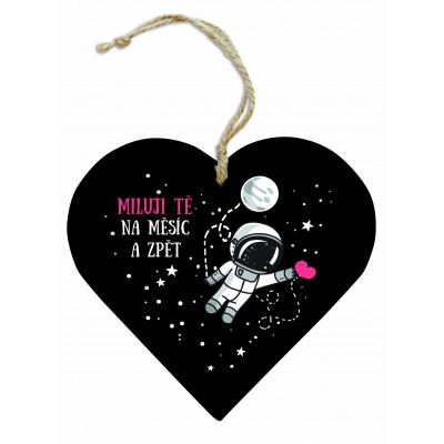 Dřevěné srdce 13 cm - Měsíc