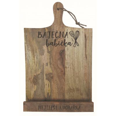 Dřevěný stojan na kuchařku - Báječná babička