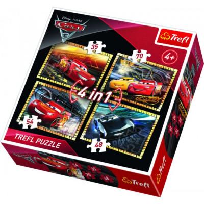 Trefl Puzzle 4v1 Auta/Cars 3 Disney 35, 48, 54, 70 dílků