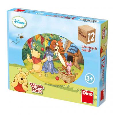 Dino Medvídek Pú dřevěné kostky 12 ks