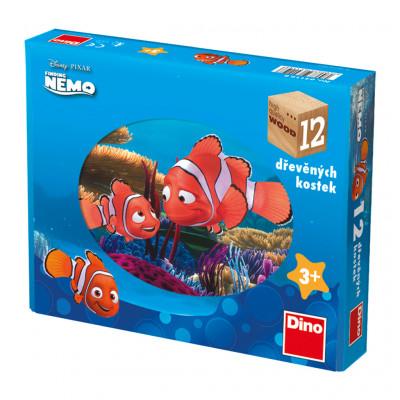 Dino Nemo dřevěné kostky 12 ks