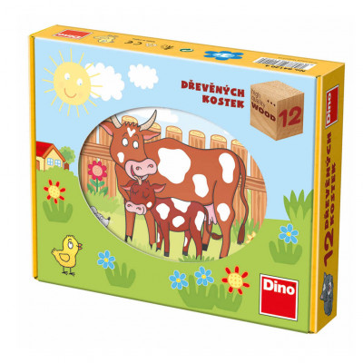 Dino Domácí zvířátka dřevěné kostky 12 ks kravička