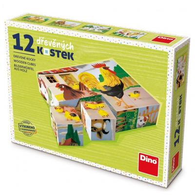 Dino Domácí zvířátka dřevěné kostky 12 ks slepička