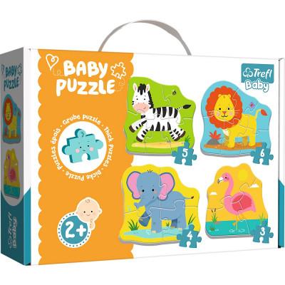 Trefl Puzzle baby Safari 4v1 3, 4, 5, 6 dílků 2+