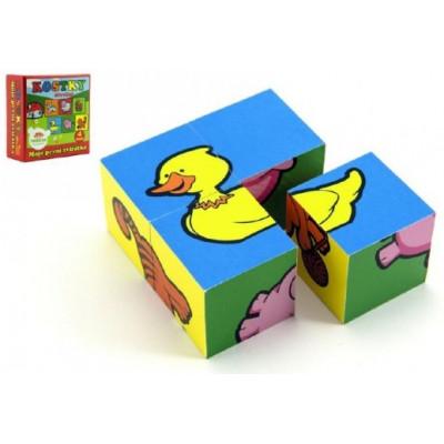 Teddies Kostky kubus Moje první zvířátka dřevo 4ks v krabici