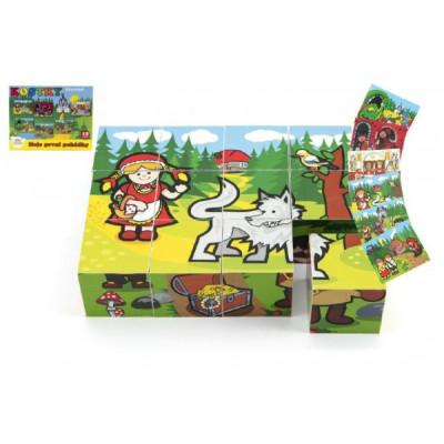 Teddies Kostky kubus dřevěné Moje první pohádky 12ks v krabičce