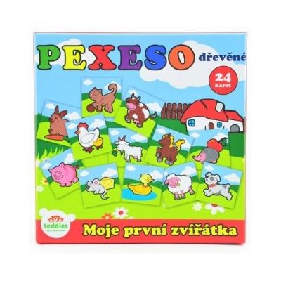 Teddies Pexeso Moje první zvířátka dřevěné 24 dílků pro nejmenší v krabičce 12m+