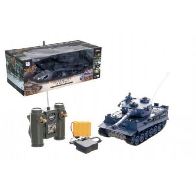 Tank RC plast 33cm TIGER I 27MHz na baterie+dobíjecí pack se zvukem a světlem v krabici