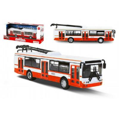 Rappa Trolejbus český kovový červený 16cm na zpětný chod v krabičce 20x8x6cm CZ design