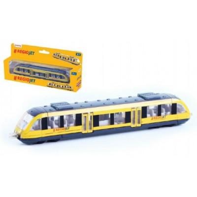 Rappa Vlak žlutý RegioJet kov/plast 17cm na volný chod v krabičce 21x9,5x4cm
