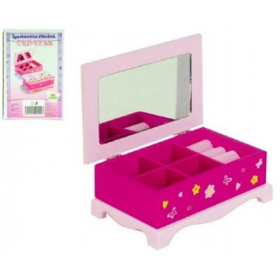 Teddies Skříňka šperkovnice Princess zrcadlo dřevo 17x7x11,5cm v krabici