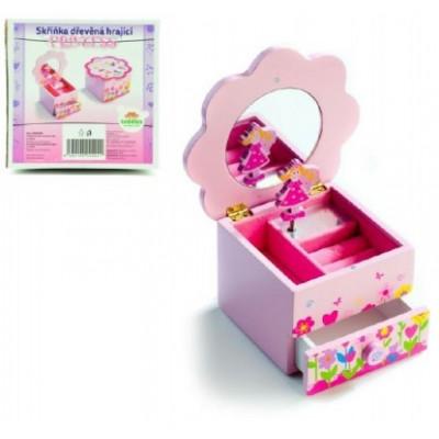 Teddies Skříňka šperkovnice Princess dřevo hrající květina zásuvka 14,5x8x14,5cm