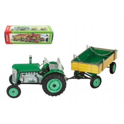 Kovap Traktor Zetor s valníkem zelený na klíček kov 28cm