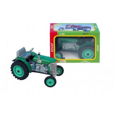 Kovap Traktor Zetor zelený na klíček kov 14cm 1:25