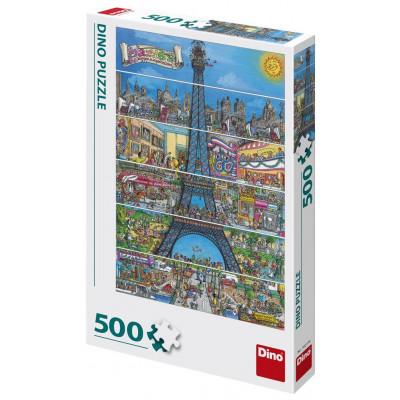 Dino Eiffelova věž kreslená puzzle 500 dílků